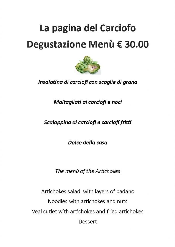 Menù degustazione Carciofi di Albenga
